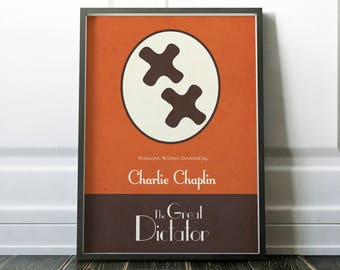 The Great Dictator, Charlie Chaplin minimalist movie poster