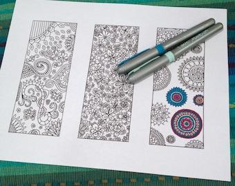 Adult Coloring Bookmark Page Flower Doodle Mandala Design Printable Instant Download Kids Activity