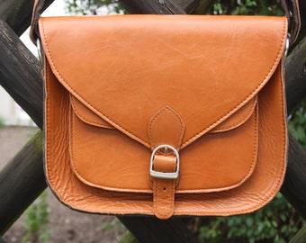 Leather crossbody bag, brown leather bag, boho shoulder bag, light brown leather handbag, women leather bag, hippie leather bag
