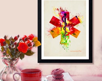 "Fine Art Print - ""Rod of Asclepius with the Star of Life - Watercolor"" -8.5"" x 11"" Medical print, Nurse Graduation gift"