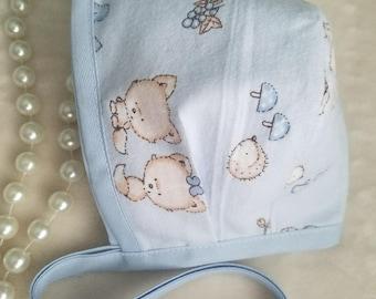 Baby bonnets, soft cotton baby bonnets, blue baby bonnet, baby girl bonnet baby, baby boy bonnet, baby hats, cotton baby hat