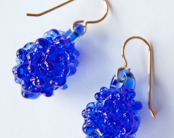 Glass Cluster Ball Earrings - Cobalt