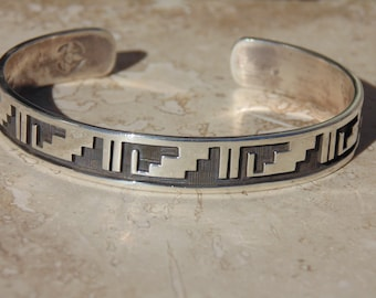 Terry Wadsworth ~ Hopi Sterling Silver Overlay Cuff Bracelet