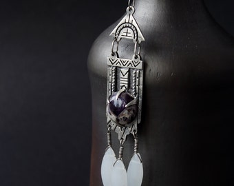 Boho Silver Amethyst pendant, silver pendant Tibetan with stone, ethnic silver pendant amethyst, pendant with amethyst, indian jewelry