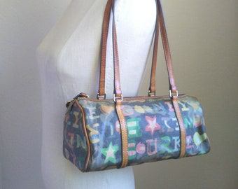 Vtg Dooney and Bourke Graffiti tote bag / crayon print, stars, hearts, leather shoulder bag, 11 inches