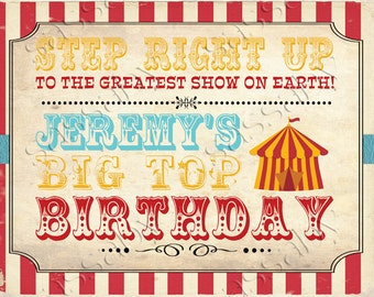 Vintage Circus Party Sign - INSTANT DOWNLOAD - Editable & Printable Aqua Combo Decorations by Sassaby