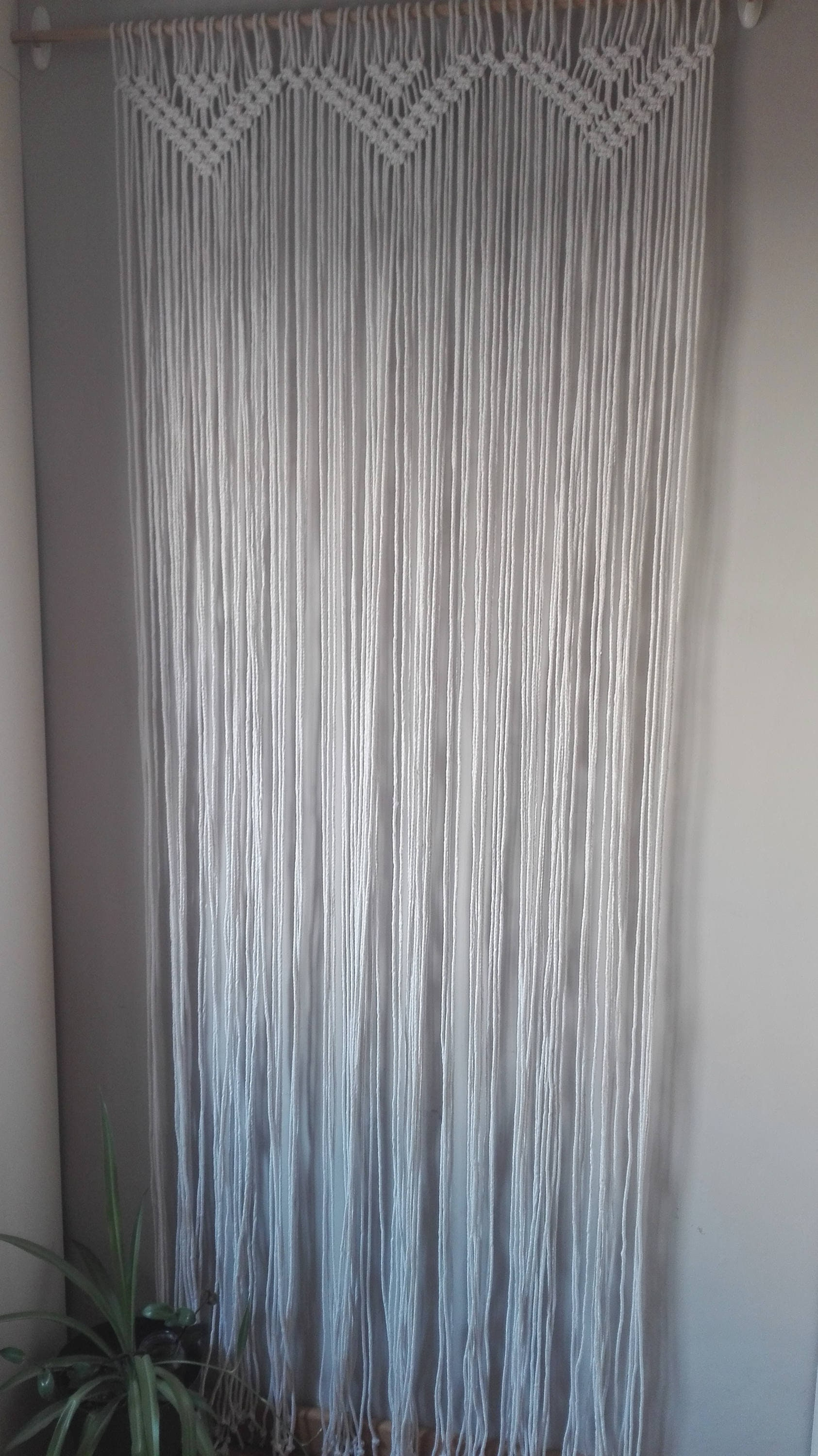 simple cotton curtain woven in macramé.cortina macramé modern.