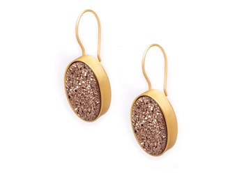 Druzy Drop Earrings - Rose Gold Druzy in Gold Earrings - Large Druzy Earrings - Oval Druzy - Dangle Earrings