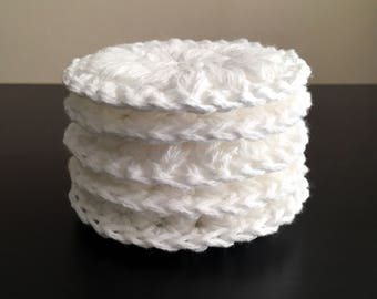 White Cotton Crochet Thick Puffy Face Scrubbies - Set of 5 - Reusable - Spa Gift