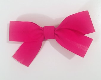 Hot pink cotton ribbon bow Barrette