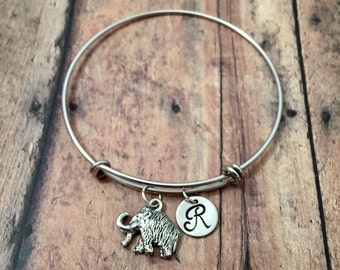 Wooly Mammoth initial bangle - prehistoric animal jewelry, science teacher gift, paleontology jewelry, wooly mammoth jewelry, mammoth bangle