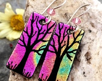 Dichroic Earrings Hand Etched Tree Fused Glass with Argentium Sterling Silver Hooks