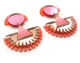 FUZZY MONOCHROME Statment Earrings Pink - Laser Cut, Art Deco Earrings, Modern Earrings, Plastic Earrings, Big Earrings, OOAK