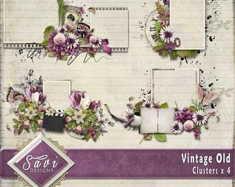 Digital Scrapbooking Clusters set of 4 VINTAGE OLD  premade embellishment png clusters to make immediate scrap page