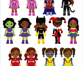 Supergirls clipart, African American Supergirls Clipart