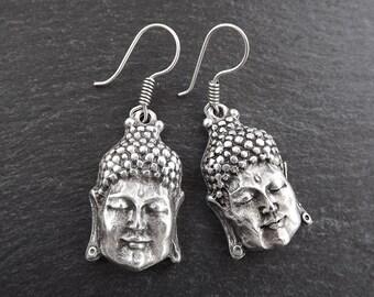 Buddha Ethnic Silver Earrings - Buddhist Yoga Namaste Jewelry