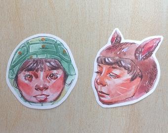 kidanimal Matte Art Stickers -  Duo Turtle Girl & Rabbit Boy
