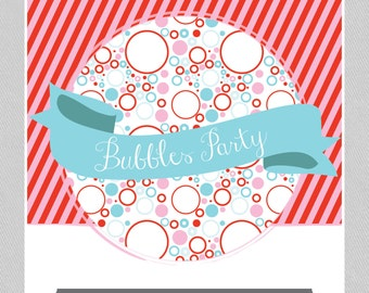 Bubbles Party Package  //  INSTANT DOWNLOAD  //  Red, Blue and Pink