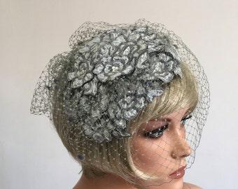 Elegant Wedding Hat Platinum Grey Hat Grey Veil Crystal Wedding Hat Birdcage Veil Pin-Up Hat Miss Fisher Hat Royal Ascot Hat Perch Hat