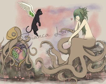 "Strange King of Cupid Art Print - 5x7"" 8""x10"" or 11x14"" - original anime manga art steampunk octopus girl - Bianca Loran Art"