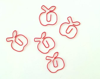 5 dark red apple paper clips / planner clips