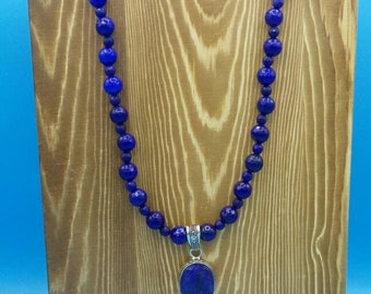 Handmade Sapphire Beaded Necklace with Sapphire Pendant.