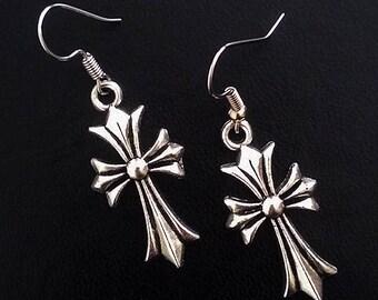 Goth earrings cross