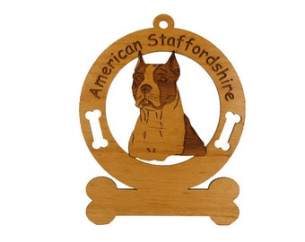 1258 American Staffordshire Head Personalized Ornament