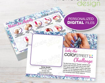 """Color Street Twosie Challenge Postcard 4""""x6"""", Nail Strips, Application Instructions, Mardi Gras -  Personalized PRINTABLE Digital File"""
