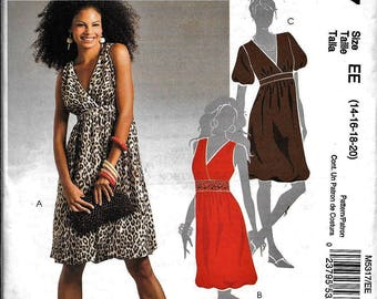 McCall's M5317 Easy Dress V Neck Pullover Empire Waist Sleeveless Sewing Pattern UNCUT Size 14, 16, 18, 20