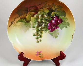 Vintage China Plate 1910-1920 Handpainted Grapes and Vine Louise Bavaria