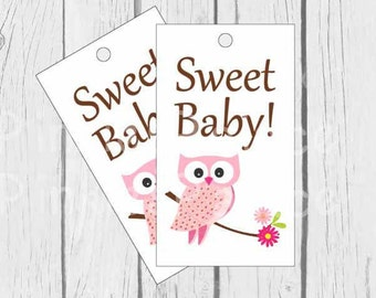 Baby Shower Tags Baby Girl Shower Tags Gift Tags Favor Tags Pink Owl Set of 12
