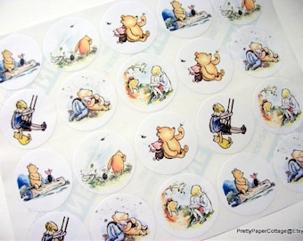 Winnie the Pooh, Sticker Sheet, Winnie Friends, Pooh Bear, Baby Shower, Birthday, Thank You, Favor Bag Stickers, 20 Large, 2 Inch, Stickers