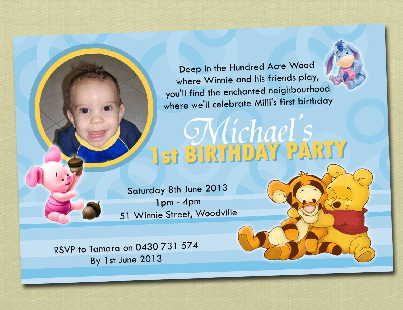 Photo Personalised Winnie The Pooh Birthday Invitations You