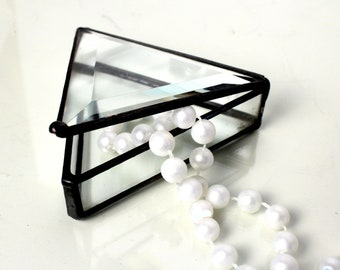 Clear Beveled Glass Jewelry Box / Ring Box / Wedding Gift / Mother's Day Gift / Graduation / Teacher Gift