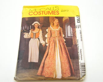 McCall's 2793  Elizabethan Medieval Gown Costume Size 18-20-22 Uncut