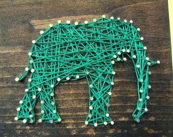 Elephant Silhouette - Modern String Art Wooden Tablet - Jade on Jacobean