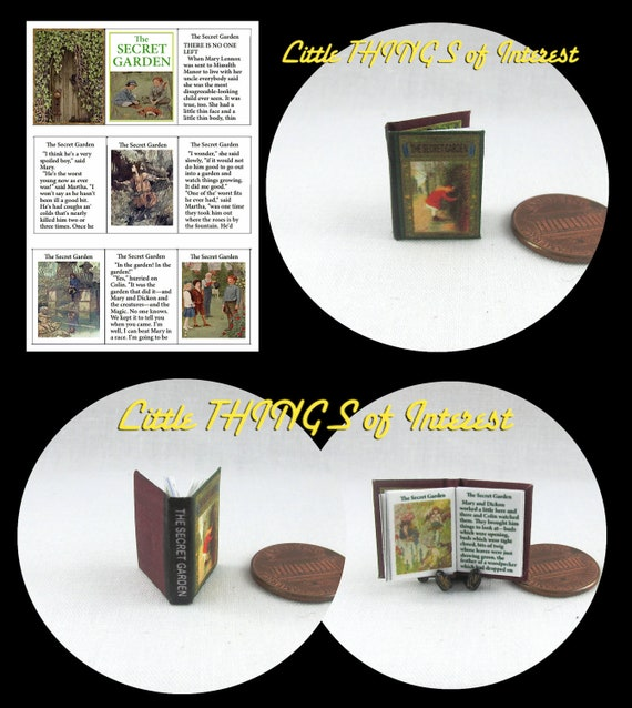 THE SECRET GARDEN Dollhouse Miniature Book 1:12 Scale Readable Illustrated Book Children's Book