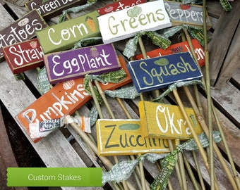 Fathers day gift,garden markers,wooden garden stakes,vegetable signs,small stake sign,gardeners gift,garden labels,custom signs,gift for men