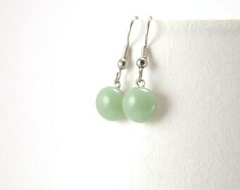 Mint candy glass earrings - modern fused glass dangle earrings, pastel mint green small ball dangle earrings, elegant modern jewelry for her