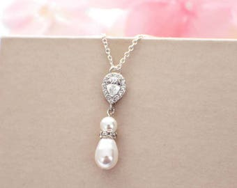 Simple pearl necklace, pearl drop necklace, bridesmaid gift, CZ pearl wedding jewelry, bridal jewelry, bridesmaid necklace, gift for her