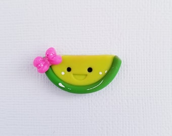 Smiley Lime – Charm – Bow center – Scrapbooking – Needle minder – Bow embellishment – Magnet- S074