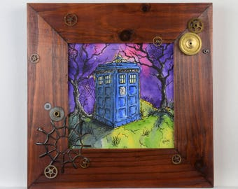 The Little Blue Box Collection, TARDIS, police box, framed watercolour painting, ideal gift, Doctor Who, Sci-fi, steampunk