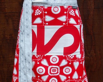 Red woman's half apron, canvas fabric, pocket, hearts, entertaining, cook, gardening, waitress, artist, men or women
