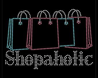 Shopaholic Shopping Bags Black Friday Rhinestone Iron On Transfer Hotfix Bling