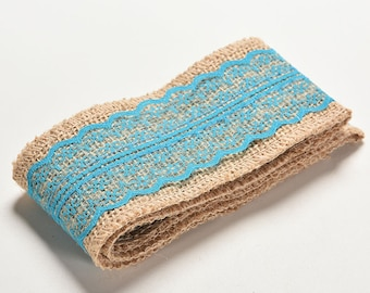 50 cm canvas of burlap Ribbon and turquoise lace