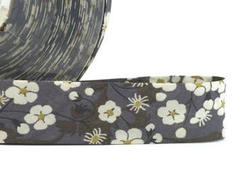 1 metre of cord - Bias Liberty of London Mitsi pattern flowers - bias Replie width 2 cm - grey tones