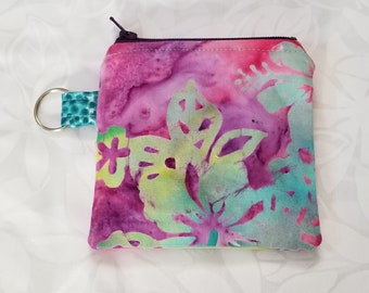 Hawaiian Fabric Zipper Pouch, Coin Purse, Key Chain