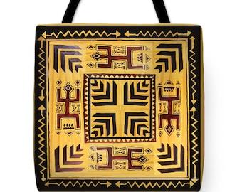 Southwest Shaman Rock Art PolyPoplin Tote Bag - African Design Throw Pillow Gift - Tribal Decor Bag - Shaman Tote Bag Design - Book Bag Gift