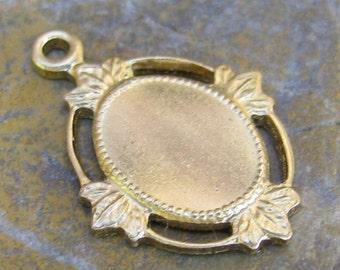 Brass Cameo Setting 8x6 Jewelry Findings 188 - 6 Pieces